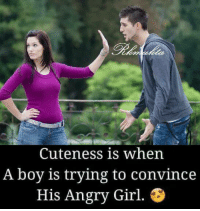 Angry Girl: Cuteness is when  A boy is trying to convince  His Angry Girl.