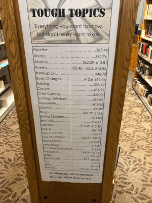 cutex24: saltwaffle:  positive-memes:  The wholesome librarian  these are dewey decimal numbers! these numbers will work for basically every public library. just go to the nonfiction section of the library and find your number on the spine of the book. reblogging for someone who might need it 💙  as a Librarian I love this, this is literally what we're there for, helping people to find the information they need without judgement!! : cutex24: saltwaffle:  positive-memes:  The wholesome librarian  these are dewey decimal numbers! these numbers will work for basically every public library. just go to the nonfiction section of the library and find your number on the spine of the book. reblogging for someone who might need it 💙  as a Librarian I love this, this is literally what we're there for, helping people to find the information they need without judgement!!