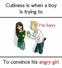 Angry Girl: Cutiness is when a boy  is trying to  I'm Sorry  To convince his angry girl