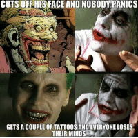 Batman, Friends, and SpiderMan: CUTS ORF HIS FACE AND NOBODY PANICS  GETS A COUPLE OF TATTOOS AND EVERYONE LOSES  THEIR MINDS Tag your friends!😂🔥 - - - justiceleague superman captainamerica batman wonderwoman arrow theflash gotham spiderman batmanvsuperman comicbookmemes justiceleaguememes avengers avengersmemes deadpool dccomics dcmemes dccomicsmemes marvel marvelcomics marvelmemes starwars doctorstrange captainamericacivilwar