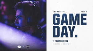 We're ready to kick off #CWLAnaheim Day 1 with our match against @TeamHeretics!  Today we're running through Pool A to see where we'll land in tomorrow Championship Bracket. #EGReady  https://t.co/pcsvtVEJmc https://t.co/RZ0cjVpShp: CWL ANAHEIM  P0OL A  GAME  DAY.  vs TEAM HERETICS  14:00 PST 22:00 CET  HERETICS We're ready to kick off #CWLAnaheim Day 1 with our match against @TeamHeretics!  Today we're running through Pool A to see where we'll land in tomorrow Championship Bracket. #EGReady  https://t.co/pcsvtVEJmc https://t.co/RZ0cjVpShp
