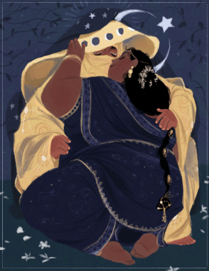 Head, Love, and Target: CX infernallegaycy:  hiranyaksha: The moon comes down from the sky and falls in love with a woman  [id: an illustration of two fat, dark-skinned middle eastern women. one, a humanization of the moon, wears a yellow niqab with two additional cloaks, one the same yellow and decorated with moon cycles and the other dark blue and decorated with stars. the other woman has black hair in a very long braid adorned with gold and is wearing a deep blue outfit with gold and brighter blue details, including swirling patterns. the two are sitting together, the woman kneeling toward the moon. the other woman is leaning up to kiss the moon through her face covering as they hold onto each other. the night sky is dark and overlaid with branches behind them. white flowers scatter the ground around them. a star and crescent symbol sits behind the moon's head. /end id.]