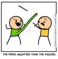I'll take the rapists for $500: Cyanide and Happiness © Explosm.net!  -  THE PENIS MIGHT-ER THAN THE SWORD. I'll take the rapists for $500
