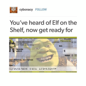 god on the paper money><<< that made it better: cybonacy FOLLOW  You've heard of Elf on the  Shelf, now get ready for  DANA MICHAELS  23 ANY STREET  Sideko30  ANY TOWN, USA 55555  Date  Pay to the  order of  Dollars  a1  OUR FINANCIAL INSTITUTION  emo god on the paper money><<< that made it better