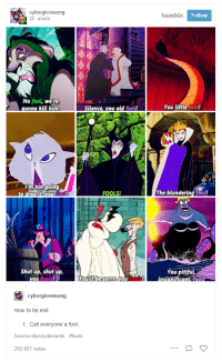"""Disney, Shit, and Shut Up: cyborglovesong  tumbl  Follow  anoia  No fool, we're  You little fool!  mnotgotng  fool  FOOLS!  The blundering fool!  Shut up, shut up,  You pitiful  fools  cyborglovesong  How to be evil:  1. Call everyone a fool.  Source:disneydeviants #fools  292,607 notes <p><a href=""""http://makeuphall.net/post/165016416194/17-times-tumblr-roasted-the-shit-out-of-disney"""" class=""""tumblr_blog"""">makeuphall</a>:</p><blockquote><p>  <a href=""""https://goo.gl/bvJdV5"""">17 Times Tumblr Roasted The Shit Out Of Disney</a>  <br/></p></blockquote>"""