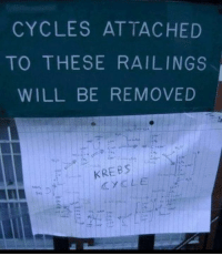 Memes, 🤖, and Will: CYCLES ATTACHED  TO THESE RAILINGS  WILL BE REMOVED  KREB