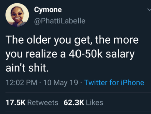 A 40: Cymone  @PhattiLabelle  The older you get, the more  you realize a 40-50k salary  ain't shit.  12:02 PM 10 May 19 Twitter for iPhone  17.5K Retweets 62.3K Likes