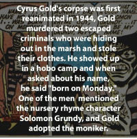 """Memes, Solomon, and Villain: Cyrus Gold's corpse was first  NAME  HAVE  reanimated in 1944, Gold  ON MO  murdered two escaped  BE Mr  ME:  criminals who were hiding  out in the marsh and stole  their clothes. He showed up  in a hobo camp and when  asked about his name  he said """"born on Monday  One of the men mentioned  the nursery rhyme character  Solomon Grundy, and Gold  adopted the moniker What's your theory about Grundy's creation-resurrection?... 🤔 💀 solomongrundy solomon grundy zombie dc dcfacts greenlantern villain villains villainfacts resurrection"""