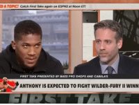 Anthony Joshua Sounds off ! 📽Via: @firsttake: D A TOPIC? Catch First Take again on ESPN2 at Noon ET!  FIRST TAKE PRESENTED BY BASS PRO SHOPS AND CABELA'S  ANTHONY IS EXPECTED TO FIGHT WILDER-FURY II WINN Anthony Joshua Sounds off ! 📽Via: @firsttake