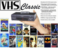 VHS classic: D Bundled with 16 VHS classic movies  OFilms ripped in 240i from genuine  Blockbuster tapes we won at auction  VHS CRT filter-video has random  static and degrades over time  save state feature-when paused.  image will shake slightly then auto  shut off after five minutes  Does not record video  D Does not come with power adapter  STEREO  D HDMI out, image upscaled to 720p  200  Audio in stereo, where available  All DogsooroHeaven  BEVERLY HILLS  espEL  FEK.  BUELLER'S  DAYOFF  ONe  JURASSI  EEMTO  INA  OGMEN下DAY  THE LITDF  MERMALL  STAR TREKL  I HF VHS classic