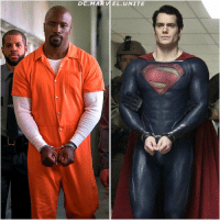 """Hey Boy Scout…Big Fan."" PowerMan meets SuperMan…in Jail ! MCU - DCEU CrossOver ! The Left Pic is a New Photo of LukeCage in TheDefenders via EntertainmentWeekly ! Comment Below what you Think would go Down in this Scene ! MarvelCinematicUniverse 💥: D C. MAR EL UNITE ""Hey Boy Scout…Big Fan."" PowerMan meets SuperMan…in Jail ! MCU - DCEU CrossOver ! The Left Pic is a New Photo of LukeCage in TheDefenders via EntertainmentWeekly ! Comment Below what you Think would go Down in this Scene ! MarvelCinematicUniverse 💥"