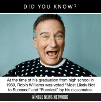 "Memes, News, and School: D!D YOU KNOW?  At the time of his graduation from high school in  1969, Robin Williams was voted ""Most Likely Not  to Succeed"" and ""Funniest"" by his classmates  NMBLE NEWS NETWORK Follow @nimblenews for the best daily posts. History, science, nature, technology and entertainment."