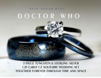 Doctor, Love, and Memes: D EEP OCEAN BLUE  DOCTOR W HO  PIECE TUNGSTEN & STERLING SILVER  1.25 CARAT CZ SOLITAIRE WEDDING SET  TOGETHER FOREVER THROUGH TIME AND SPACE Whovian Love <3<3