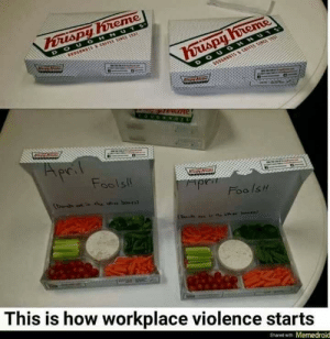 Terrible Facebook, How, and This: D OUGHNUT  DOU  Fools!  Foo Is  This is how workplace violence start:s  Shared with Mernedroid Violence