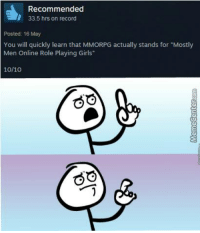 """The truth about MMORPGs!: d, Recommended  33.5 hrs on record  Posted: 16 May  You will quickly learn that MMORPG actually stands for """"Mostly  Men Online Role Playing Girls""""  10/10  GO The truth about MMORPGs!"""