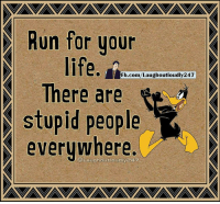 Life, Memes, and Run: D Run for your  life.  Fb.com/Laughoutloudly247  stupid people  everywhere.