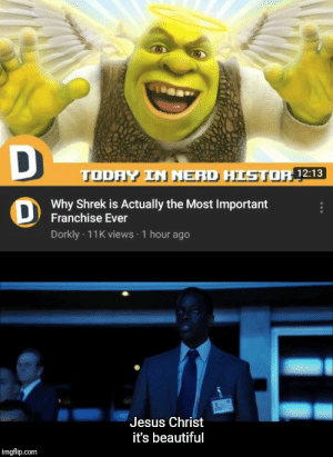 Beautiful, Jesus, and Nerd: D  TODAY IN NERD HISTOR12:13  Why Shrek is Actually the Most Important  Franchise Ever  Dorkly 11K views 1 hour ago  Jesus Christ  it's beautiful  imgflip.com Dorkly be granting divine knowledge to adults and kids alike