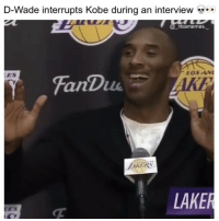 Memes, Kobe, and 🤖: D-Wade interrupts Kobe during an interview  nbamemes.  ES  OSAN  FanDu  AKI  İKERS  LAKER  ES Kobe's reaction tho 💀😂👀 - Follow @_nbamemes._