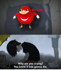 "Crying, Http, and Devilman: d wae  Why are you crying?  You knew it was gonna die. <p>Just made this Devilman template. Does it have potential? via /r/MemeEconomy <a href=""http://ift.tt/2ET6kSV"">http://ift.tt/2ET6kSV</a></p>"