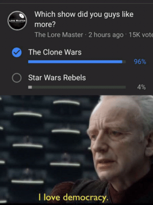 I love democracy: d Which show did you guys like  LORE MASTER  more?  The Lore Master 2 hours ago 15K vote  The Clone Wars  96%  Star Wars Rebels  4%  l love democracy I love democracy