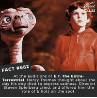 Memes, Movies, and Netflix: D YOU KNOW  MOVIES  FACT #682  At the auditions of E.T. the Extra  Terrestrial, Henry Thomas thought about the  day his dog died to express sadness. Director  Steven Spielberg cried, and offered him the  role of Elliott on the spot. Is ET the saddest movie for kids? 🎥 • • • • Double Tap and Tag someone who needs to know this 👇 All credit to the respective film and producers. movie movies film tv cinema fact didyouknow moviefacts cinematography screenplay director movienight shrooms hollywood netflix didyouknowmovies academyawards ET spielberg super8 strangerthings alien it pennywise ellefanning