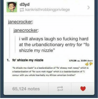 "I'm going to see moana so excited - @stressedoutlex: d3yd  kankristhrobbingprivilege  janecrocker:  janecrocker:  i will always laugh so fucking hard  at the urbandictionary entry for ""fo  shizzle my nizzle""  1. fo' shizzle my nizzle  17128 up, 1154 down  ""fo shizzle ma nizzle"" is a bastardization of ""fo' sheezy mah neezy"" which is  a bastardization of ""for sure mah nigga"" which is a bastdardization of ""I  concur with you whole heartedly my African american brother""  65,124 notes I'm going to see moana so excited - @stressedoutlex"