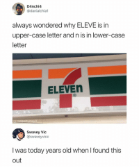 """<p>Why is it tho? via /r/memes <a href=""""https://ift.tt/2JFrrPb"""">https://ift.tt/2JFrrPb</a></p>: D4nchi4  @danialchia1  always wondered why ELEVE is in  upper-case letter and n is in lower-case  letter  ELEVEn  ig. realpettymayO  Swavey Vic  @swaveyvicc  I was today years old when I found this  out <p>Why is it tho? via /r/memes <a href=""""https://ift.tt/2JFrrPb"""">https://ift.tt/2JFrrPb</a></p>"""