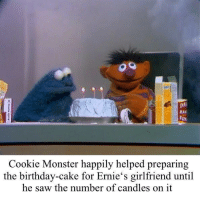 Birthday, Cookie Monster, and Monster: DA  BAI  Cookie Monster happily helped preparing  the birthday-cake for Ernie's girlfriend until  he saw the number of candles on it Cookie Monster is concerned for a friend