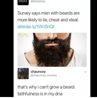 Beard, Memes, and Beards: DA  ILY  @EliteDaily  Survey says men with beards are  more likely to lie, cheat and steal  elitedai.ly/1Wc6nQt  chauncey  @chauncey murphy  that's why i can't grow a beard  faithfulness is in my dna 😩