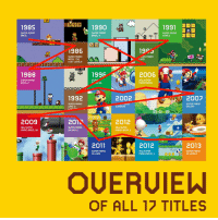 Super Mario, Super Mario Bros, and Mario: daaa: 1990  1985  1991 DD  UPER MARIo  BROS  SUPER MARIO  BROS. 3  SUPER MARIO  WORLD  1986  1923  SUPER MARIO  BROS.: THE  LOST LEUELS  PER MARIO  LAND  1988  1996  2006  SUPER MARIO  BROS. 2  SUPF  NEW SUPER  MARIO BROS  64  1992  2002  2007  2D  SUPER MARIO  LAND 2:  SUPER MARIO  GALAKY  SUNSHINE  2009  201  2012  NEW SUPER  MARIO BROS. Wl  SUPER MARIO  GALAKY 2  NEW SUPER  MARIO BROS. 2  2011  2012  2013  SUPER MARIO  3D LAND  NEW SUPER  MARIO BROS. U  SUPER MARIO  3D WORLD  OF ALL 17 TITLES It's a lovely book, but the Mario Encyclopedia made my teeth tingle with this page.