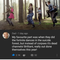 Dad, Memes, and Suicide: Dad 1 day ago  My favourite part was when they did  the fortnite dances in the suicide  forest, but instead of corpses it's dead  channels! Brilliant, really out done  themselves this year! That's gotta hurt. via /r/memes https://ift.tt/2Eb0KOs