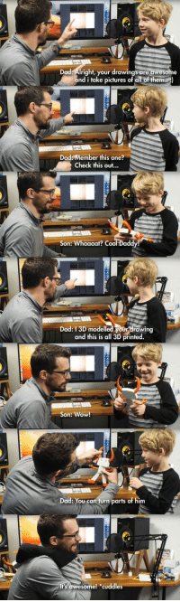 """<p>Dad finds new use for 3D printing via /r/wholesomememes <a href=""""https://ift.tt/2I9cZdb"""">https://ift.tt/2I9cZdb</a></p>: Dad: Alright, your drawings are awesome  and i take pictures of all of them)  Dad: Member this one?  Check this out...  Son: Whaaaat? Cool Dadd  Dad: 13D modelled your drawing  and this is all 3D printed.  Son: Wow!  Dad: You can turn parts of him  Its awesome! cuddles <p>Dad finds new use for 3D printing via /r/wholesomememes <a href=""""https://ift.tt/2I9cZdb"""">https://ift.tt/2I9cZdb</a></p>"""