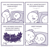 probably me as a parent #honesty: DAD, ARE THERE MONSTERS  UNDER MY BED?  THEY LIVE INSIDE YOUR HEAD,  SLOWLY BUT SURELY  CONSUMING YOUR LIFE.  SEL  INSECURITY  @accordingto devin ig  NO, SILLY. MONSTERS DON'T  LIVE UNDER YOUR BED!  SWEET DREAMS.  o.ccordingtodevin.com probably me as a parent #honesty