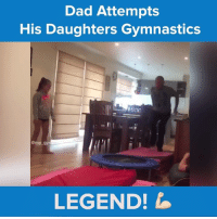 Gym, Memes, and Gymnastics: Dad Attempts  His Daughters Gymnastics  gym  @my  LEGEND! Least he tried! #onedip