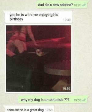 Birthday, Dad, and Saw: dad did u saw sabrino? 18:20  yes he is with me enjoying his  birthday  19:49  19:50  why my dog is on stripclub ??? 19:50  because he is a great dog 19:50 me irl