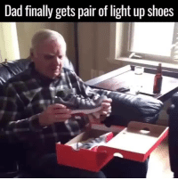 Dad, Shoes, and Light: Dad finally gets pair of light up shoes <p>The perfect present</p>