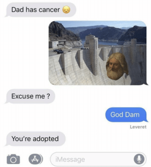 Adopted: Dad has cancer  Excuse me?  God Dam  Leveret  You're adopted  iMessage