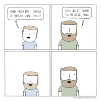 Beard, Dad, and Memes: DAD, How DO I GROW  A BEARD LIKE YOU?  YOU JUST HAVE  TO BELIEVE, SON  poorly drawnlines.com Clap Your Hands If You Believe tvtropes.org/Main/ClapYourHandsIfYouBelieve Credit: poorlydrawnlines.com/comic/grow