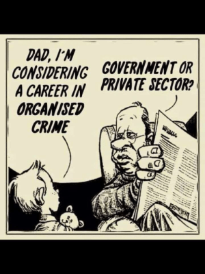 Crime, Dad, and Politics: DAD, I'M  CONSIDERING GOVERNNMENT OR  A CAREER IN PRIVATE SECTOR  ORGANISED  CRIME Career Opportunities