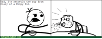 wimpy kid: Dad, I'm secretly the guy from  Diary of a Wimpy Kid.  RAGEBUILDER.COM