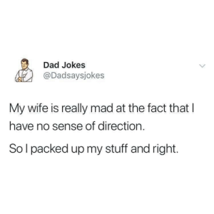 Really Mad: Dad Jokes  @Dadsaysjokes  My wife is really mad at the fact that l  have no sense of direction.  So l packed up my stuff and right.