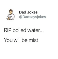 i high key wanna rebrand this account gives me depression and i dont even care if i lose followers tbh: Dad Jokes  @Dadsaysjokes  RIP boiled water...  You will be mist i high key wanna rebrand this account gives me depression and i dont even care if i lose followers tbh