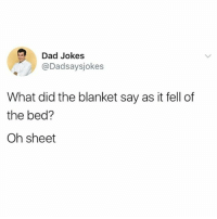 Everyone follow @dadsaysjokes for the best dad jokes 😂: Dad Jokes  @Dadsaysjokes  What did the blanket say as it fell of  the bed?  Oh sheet Everyone follow @dadsaysjokes for the best dad jokes 😂