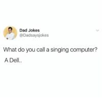 Dad, Dell, and Memes: Dad Jokes  @Dadsaysjokes  What do you call a singing computer?  A Dell.. Everyone follow @dadsaysjokes for the best Dad jokes 😂