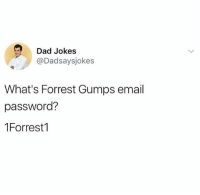 Everyone follow @dadsaysjokes for the best dad jokes 😂: Dad Jokes  @Dadsaysjokes  What's Forrest Gumps email  password?  1Forrest1 Everyone follow @dadsaysjokes for the best dad jokes 😂