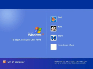 Click, Dad, and Tumblr: Dad  Kim  Windows  Mom  To begin, click your user name  Grandma's Ghost  OTurn off computer  After you log on, you can add or change accounts.  Just go to Control Panel and dick User Accounts j0shit0:  The good ol days.