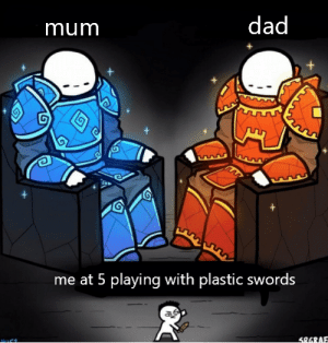 Dad, Reddit, and Good: dad  mum  me at 5 playing with plastic swords  SRGRAE the good old times...