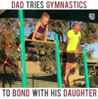 Love this cute sporty duo! Got a workout buddy, too? Send us videos in the comments below to be featured here.: DAD TRIES GYMNASTICS  TO BOND WITH HIS DAUGHTER Love this cute sporty duo! Got a workout buddy, too? Send us videos in the comments below to be featured here.