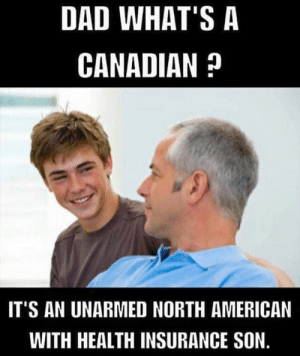 Dad, Memes, and American: DAD WHAT'S A  CANADIAN ?  IT'S AN UNARMED NORTH AMERICAN  WITH HEALTH INSURANCE SON.