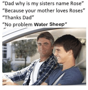 """Dad, Rose, and Water: """"Dad why is my sisters name Rose""""  """"Because your mother loves Roses""""  """"Thanks Dad""""  """"No problem Water Sheep"""" Wololo"""